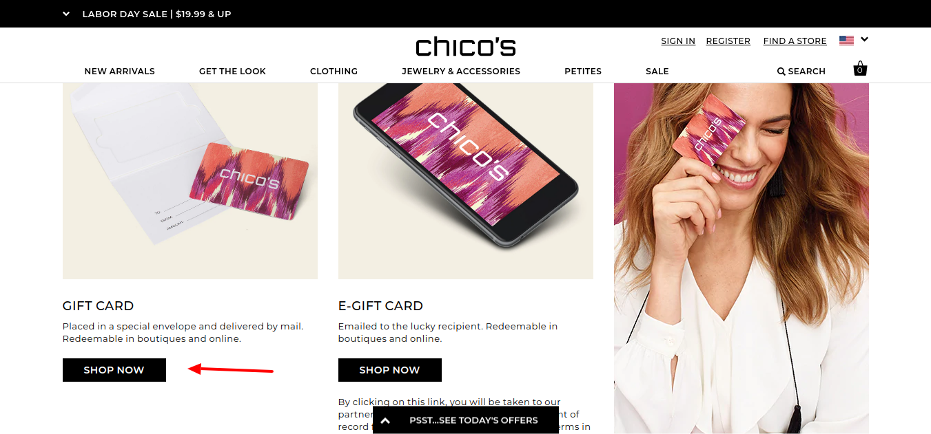 Chico's gift card shop now