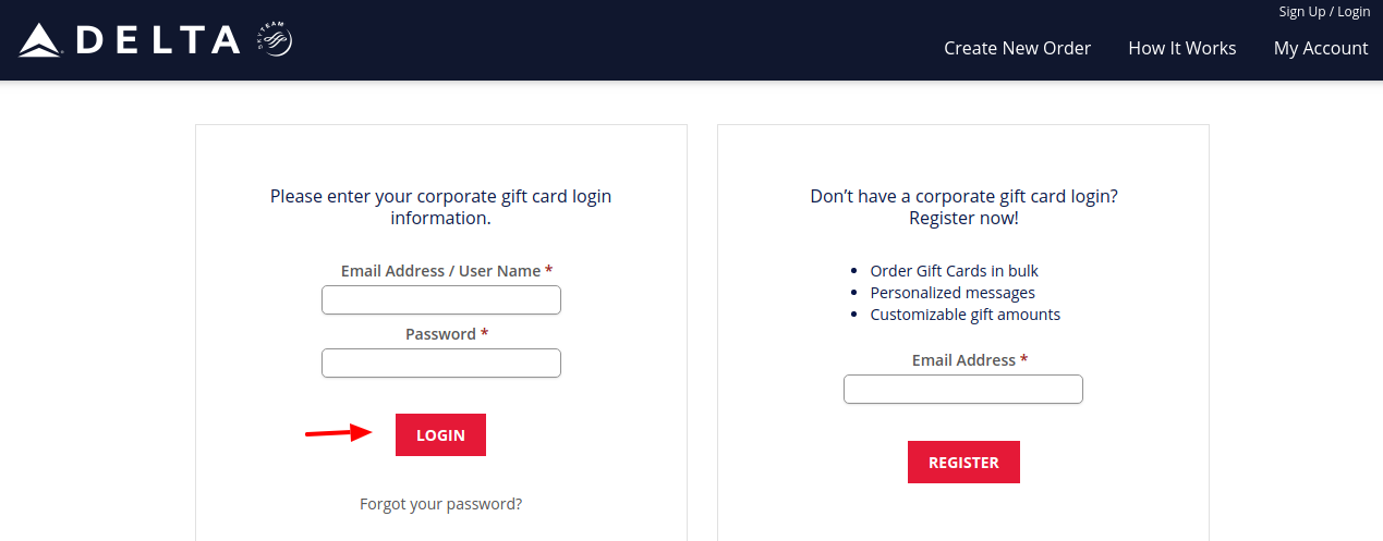 Delta Airlines Gift Cards Login