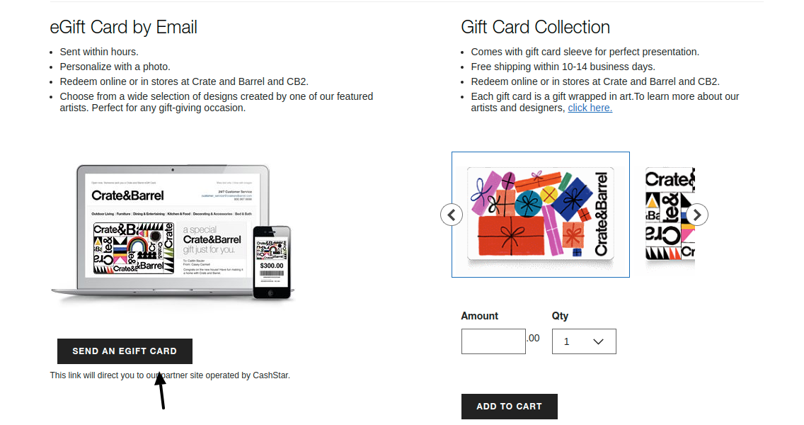 Crate and Barrel E-Gift Card Send