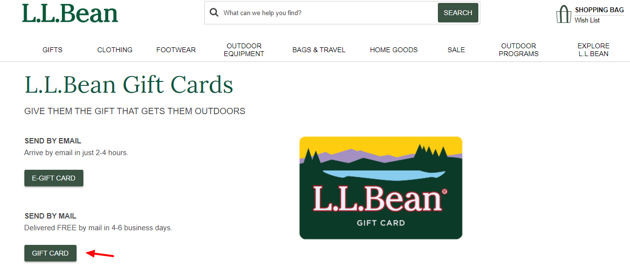 LL Bean Gift Cards Purchase