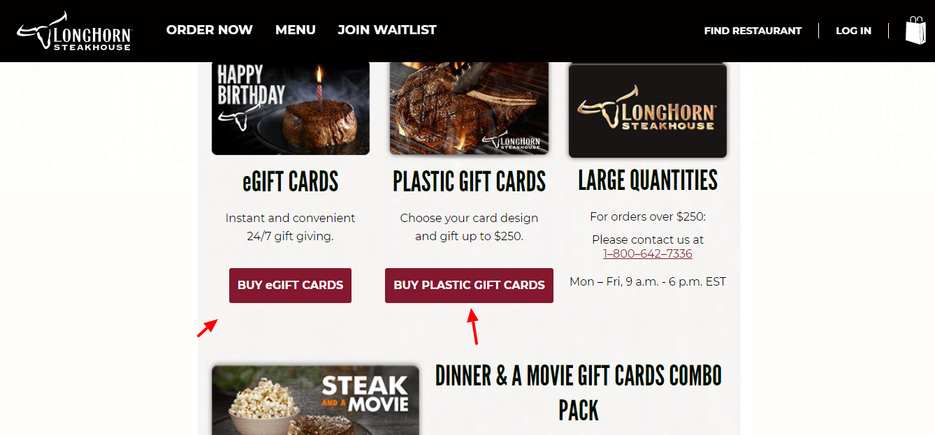 Steakhouse Gift Card purchase